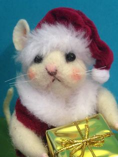 Needle felted Santa  Mouse Christmas mouse by weewooleybeasties