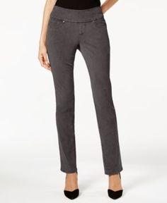 Jag Petite Peri Corduroy Straight-Leg Pants - Gray 10P