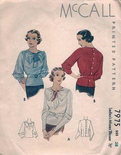 1930s McCall blouse pattern