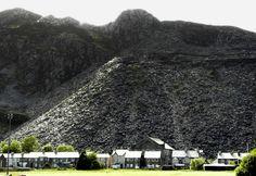 Slag piles of slate dominate the Welsh town of Blaenau Ffestiniog.