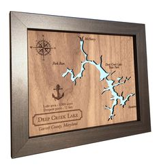5th Anniversary gift Laser Cut Wood Lake Map - Any Lake - wood anniversary gift idea