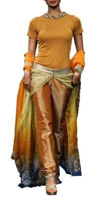 Yellow Gold Shaded Dress   Strandofsilk.com - Indian Designers