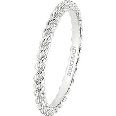 Serpent Bohème 18ct white-gold wedding band ($930) ❤ liked on Polyvore featuring jewelry, rings, engraved rings, boucheron jewelry, wedding band jewelry, white gold wedding rings and white gold jewelry