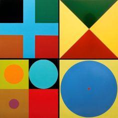 Figuras geométricas coloreadas, formando distintas figuras en su interior con distintos colores.