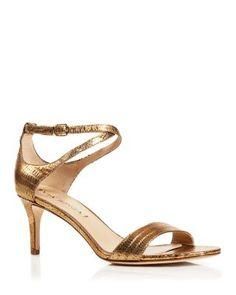 b90c790cd9f Via Spiga Leesa Lizard Embossed Metallic Leather Ankle Strap Mid Heel  Sandals Shoes - Sandals - Bloomingdale s