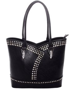 Black Rhinestone Faux Leather Handbag~Tote~Studs~Conceal Carry~Asymmetric Design #Unbranded #SatchelHandbag