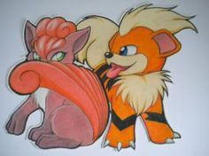 Vulpix and Growlithe by GothicKitty3