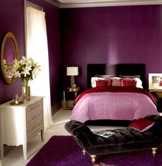 Beautiful Purple Bedroom Design Ideas With Elegant Black Velvet Bench Using Bun Foot On Purple Rug And White Painted Dresser Drawers Under Cool Round Framed Wall Mirror