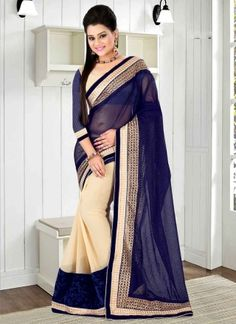Navy Blue Cream Patch Border Lace Work Georgette Fancy Party Wear Sarees http://www.angelnx.com/Sarees/Party-Wear-Sarees