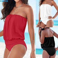 ed46de2f546 2016 One Piece Swimsuit Strapless Monokini Plus Size Bodysuit Swimwear  Swimming Suit For Women Maillot de bain Female