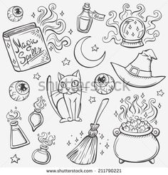 Halloween witches attributes doodles set