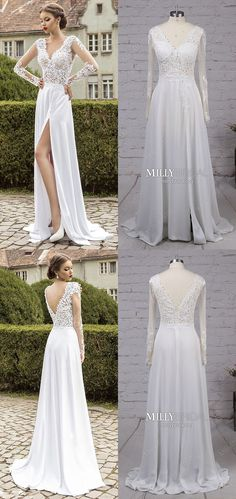 Long Prom Dresses for Teens,White Prom Dresses with Slit,A-line Prom Dresses Elegant,Long Sleeve Prom Dresses V-neck,Chiffon Tulle Prom Dresses Backless