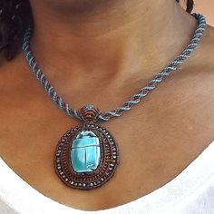 Macrame Necklace - Scarab Necklace, Blue and Brown