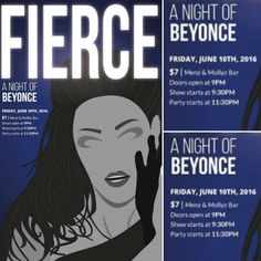 TONIGHT @ MENZ / $7 Doors at 9:00PM Show starts at 9:30PM Party starts 11:30PM . Okay ladies now lets get in FORMATION . FIERCE: A Night Of Beyonce Friday June 10th Doors at 9:00PM Show starts at 9:30PM Party starts 11:30PM $7 Menz & Mollyz Beyoncé continues to Run The World and redefine what it is to be Irreplaceable with a career now spanning three decades and a musical collection that brings out the inner Diva in all of us! So sip the Lemonade & Ring The Alarm because were paying tribute…