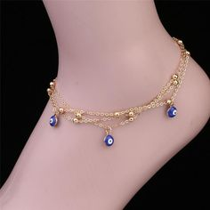 ON SALE - Evil Eye Layered Ankle Bracelet In Silver or Gold