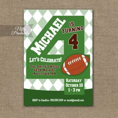 4th Birthday Invitation – Football 4th Birthday