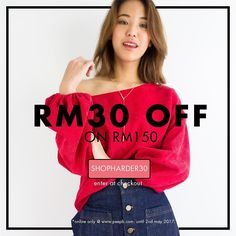 Wheeee! 4 days only!  Take RM30 off your favourite pieces with code 'SHOPHARDER30'! Valid online only @ www.peepb.com. For all orders above RM150 until 2nd May 2017. . . . #peepboutique #peepb #shopping #shoppingroll #fashion #style #weekend #weekendshopping #summer #summersale #summerstyle #shopharder #igmy #igmalaysia #malaysiaonlineshop #ootdmalaysia #onlineshopmalaysia
