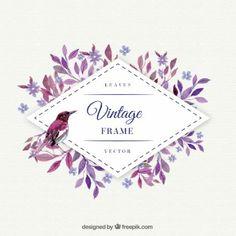hojas púrpuras con el marco de la acuarela del pájaro
