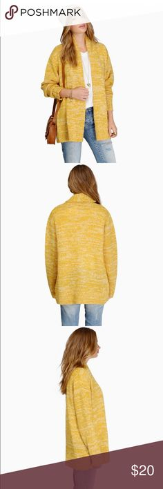 Yellow Maddison sweater cardigan New with tags! Super warm and thick. Perfect for the fall or winter. This will fit up to a medium. Tobi Sweaters Cardigans