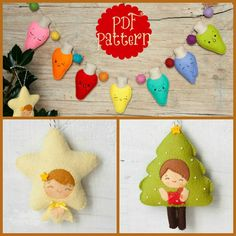 PDF. Christmas ornaments pattern. Tree Pattern. Star Pattern. Lights Pattern. Plush Doll Pattern, Softie Pattern, Soft felt Toy Pattern.