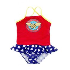 DC Comics Toddler Girls Red, White, Blue & Yellow Wonder Shield One Piece Skirted Swimsuit: Designer Kid Clothes | Children's Clothing | Evolution Kids Emporium