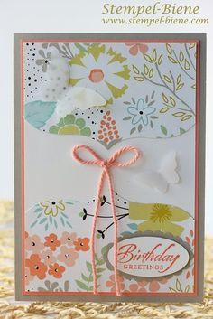 Wetlands, Stampin up, Geburtstagskarte basteln, Hochzeitskarten basteln, Karten zur Geburt, Stanze Eleganter Schmetterling, Stanze Mini-Schm...