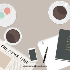 Flat newspaper background and coffee Free Vector Page Borders Design, Border Design, Newspaper Background, Nail Bar, Flat Design, Vector Free, Desktop, Coffee, Vector Background