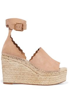 Wedge heel measures approximately 110mm/ 4.5 inches with a 50mm/ 2 inch platform Beige suede  Buckle-fastening ankle strap  Made in Spain