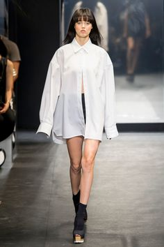 Try and oversized white shirt - layer with black leggings or skinny jeans. Vera Wang shirt