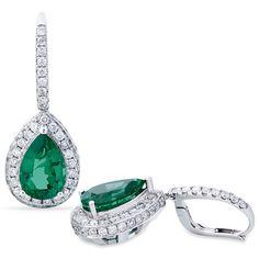 3c2b4bcf4bb16 Par de Brinco de Ouro Branco com Esmeraldas e Diamantes - - Medalhão Persa