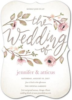 Delightful Blooms - Signature White Wedding Invitations in Bubblegum or Violet | Lady Jae