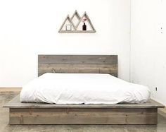 Ol' Weathered Plank Low Pro - Rustic Modern Platform Bed Frame and Headboard - Loft Style - Solid Wood Handmade in USA Low Bed Frame, Bed Frame And Headboard, Bed Frames, Bedroom Headboards, Rustic Platform Bed, Platform Bed Frame, Solid Wood Platform Bed, Modern Platform Bed, Pallet Beds