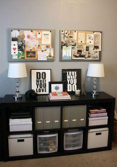 Flip bookshelf in office sideways to lay under the cabinet.