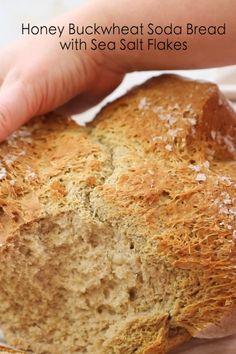 Honey Buckwheat Soda Bread with Sea Salt Gluten Free Buckwheat Bread, Buckwheat Recipes, Coconut Flour Bread, Vegan Bread, Honey Bread, Buckwheat Bread Machine Recipe, Buckwheat Muffins, Gluten Free Sourdough Bread, Buckwheat Cake