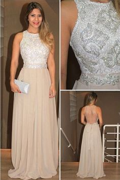 High Neck Chiffon Sequins Evening dresses Prom Gowns With Beading PG337