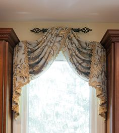 valance using single piece of fabric, edged, 1 small decorator rod, center lay over rod sides folded over making pleated jabots