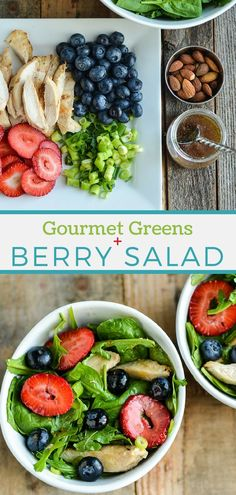 Nutritious leafy greens and berries, plus protein from chicken, make a beautiful salad that's a complete meal. #mysouthernhealth #saladrecipe #healthysaladrecipe #gourmetgreensalad #berrysalad