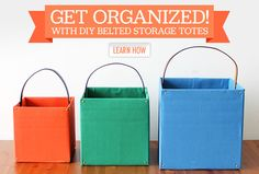 Get Organized with DIY Belted Storage Totes - Get Organized with DIY Belted Sto. - Get Organized with DIY Belted Storage Totes – Get Organized with DIY Belted Storage Totes Diy Jewelry Unique, Diy Jewelry Making, Craft Storage Cabinets, Belt Storage, Diy Belts, Sewing Projects, Diy Projects, Diy Jewelry Holder, Spring Cleaning