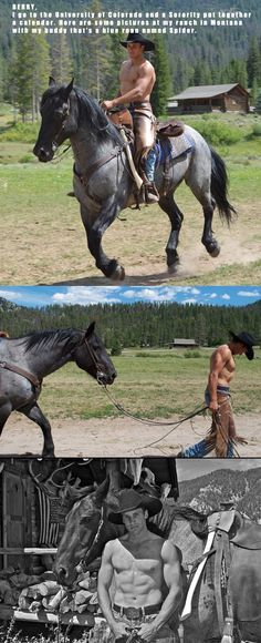 Don'tcha just love real cowboys and the horse is damn handsome as well.