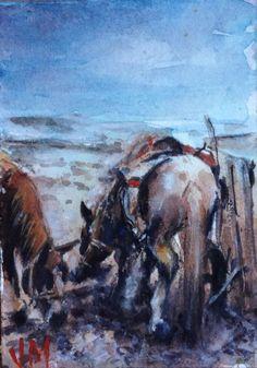 Aceo Fine Art Card Original Watercolor Painting Nevada's Winter  | eBay