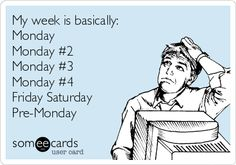 My week is basically: Monday Monday #2 Monday #3 Monday #4 Friday Saturday Pre-Monday. | Workplace Ecard | someecards.com