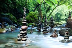 stone stacked spires....in a stream..will be washed away by the spring rains I assume...steine