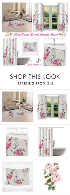 """Pink Crane Flower Dream.Home Decor"" by jnccreations ❤ liked on Polyvore featuring interior, interiors, interior design, home, home decor, interior decorating and artsadd"