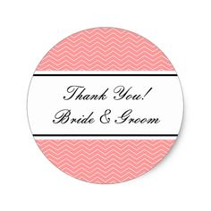 Coral round thank you stickers for wedding favors