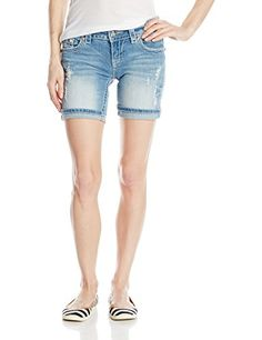 PRODUCT DETAILS : Denim short with colored embroidery on back yoke and pocketFront distressed detailWhiskering and logo hardware detail throughout SPECIAL PRICE : $31.06