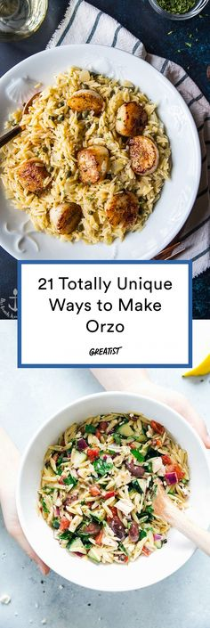 Quinoa gets enough attention these days. Here are some lunch and dinner recipes to bring the spotlight back onto pasta, this time featuring orzo (also known as risoni). Now you'll finally know what to do with that clever rice-shaped noodle. Orzo Pasta Recipes, Pasta Dishes, Food Dishes, Chicken Recipes, Noodle Recipes, Pasta Food, Giada De Laurentiis, Small Pasta, Cooking Recipes