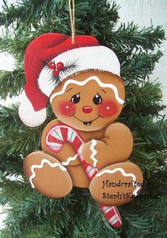 Handpainted Wooden Christmas Gingerbread by stephskeepsakes Gingerbread Ornaments, Gingerbread Decorations, Christmas Yard Decorations, Christmas Gingerbread, Noel Christmas, Christmas Ornaments, Gingerbread Men, Gingerbread Cookies, Christmas Projects
