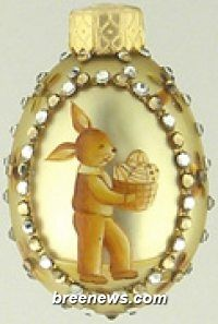 Portrait, Boy Gold Miniature Egg Ornament From Patricia Breen (Easter, Spring)bunnies