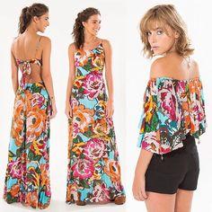 """Bazar 50% off!  1. Vestido longo chita folk M G R$199,00 2. Blusa ombro chita folk G R$124,50 + frete grátis usando o cupom de desconto ✨A798✨ no campo """"código de vendedor"""" ao finalizar a compra. Acesse: www.farmrio.com.br #adorofarm #farmrio #tonoadorofarm #dicasdacarol #voudefarm #fashion #moda #sotaquebrasil #verao17 #modices #codigofarm #a798"""
