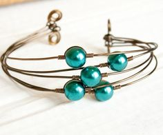 Teal and Bronze Pearl Bangle Cuff Bridesmaid by HopeFilledJewelry